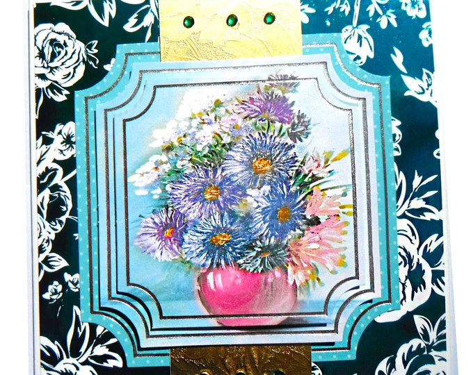 3D Decoupage, Birthday Card, Greeting Card, Any Occasion  Floral, Female, Dark Green and Silver, Any Age