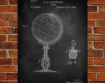 Globe Art Print, Globe Patent, Globe Vintage, Globe Blueprint, Globe Print, Globe Prints, Globe Wall Art, Globe Decor