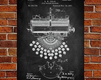 Type Writing machine Fine Art Prints, Patent, Vintage Art, Blueprint, Poster, Patent Prints, Wall Art, Décor