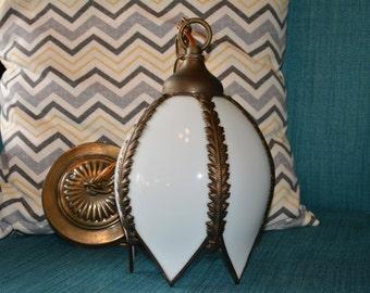 Beautiful vintage tulip slag glass pendant