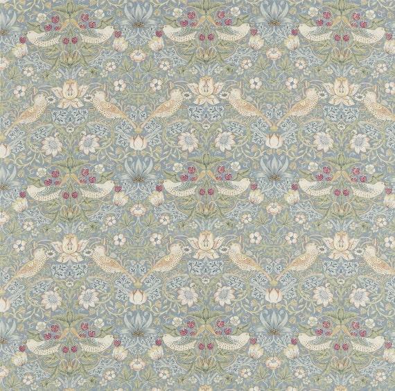 William Morris Rugs Reproductions: William Morris Strawberry Thief Slate Vellum Fabric 54