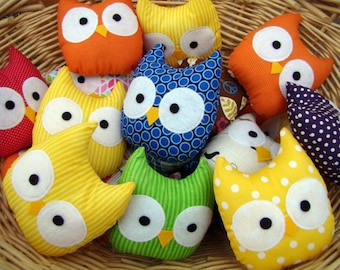 owl, mini owl plush, stuffed owl, assorted dozen, party favors