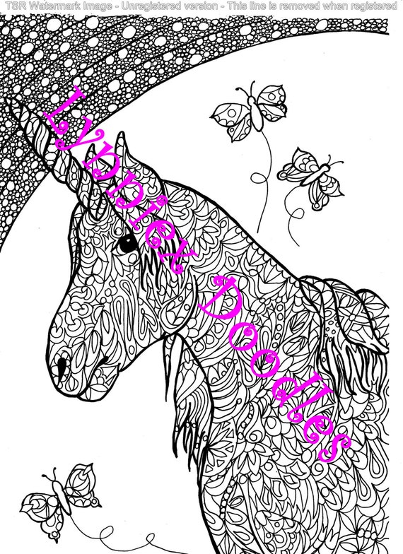 Items similar to Unicorn doodle-colouring in/art therapy ...