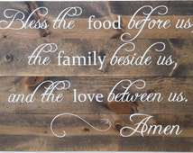 Bless the Food Before Us-Large Hand Painted Prayer Home Decor Sign