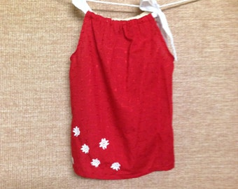 Girls Red pillow case dress w/snowflakes - size 3.