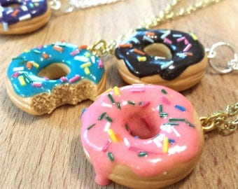 Vanilla, Chocolate, Pink Strawberry, Purple, and Blue Raspberry Rainbow Sprinkle Donut Miniature Food Necklace