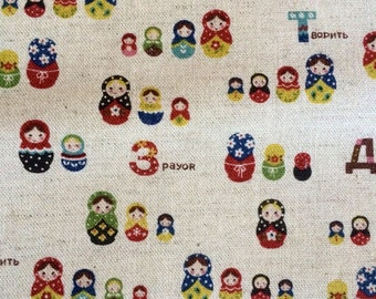 Russian Doll fabric - Kokka fabric - Natural - Made in Japan