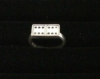 SUMMER SALE Domino Game Sterling Silver Ring Size 6 1/2