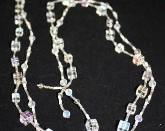 Clear square crystal lariat; square bead lariat; crystal lariat; clear crystal lariat; clear square crystal lariat; lariats;handmade jewelry