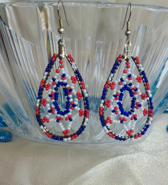 July 4th Red White and Blue Patriot Dangle Beaded Earrings/ New York Giants, New England Patriots colors
