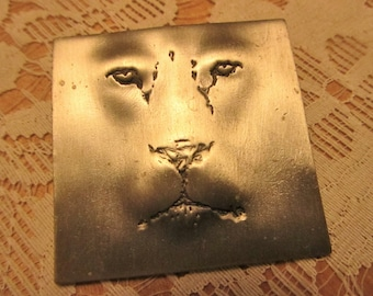 Vintage JJ lion face pewter brooch pin square jewelry