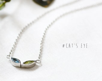 Cats Eye Necklace 925 Sterling Silver Animal Eye Pendant Tiny Charm Cat Jewelry
