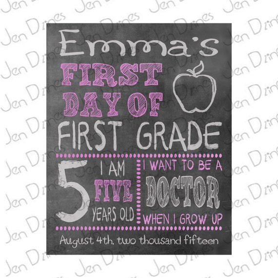 First day of school sign, chalkboard sign, school sign, chalkboard ...