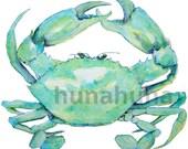 Blue Crab watercolor clip art, painting, wall art, sea ocean theme, printable, digital, instant download, clipart