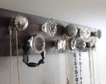 Jewelry organizer, 9 knob necklace holder, wall decor, silver and clear crystal