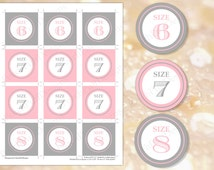 Flip flop tags Pink and Gray (INSTANT DOWNLOAD)  - Flip flop size tags - Wedding flip flop tags