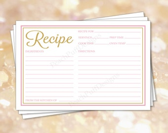 """Recipe cards 4x6"""" Pink Gold (INSTANT DOWNLOAD) - Recipe cards printable - Recipe cards Bridal shower - Printable recipe cards BR002"""