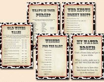Cowboy Baby Shower Game Printables, Cowgirl Baby Shower, Western Baby Shower Game Pack, Farm Animals Baby Shower Game package TLC58