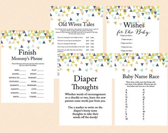 Coral and Mint Baby Shower Games, Modern Baby Shower Game Printable, Geometric Confetti Baby Shower Games, Gender neutral TLC51