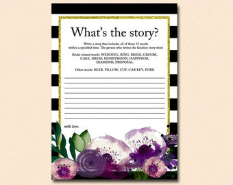 what's the story, write a story, create a story, funny story, purple floral, Bridal Shower Game Printable, Bachelorette, Wedding Shower BS68