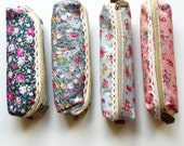 Floral pencil case Zipper  Pencil Case,  Small Cosmetic Pouch