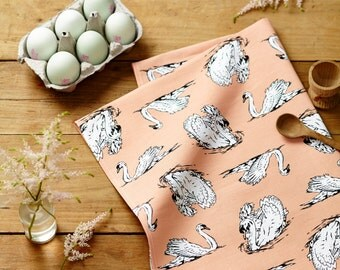 Swimming Swans Tea Towel in Salmon Pink- Country Kitchen accessory, perfect homeware gift for animal lovers
