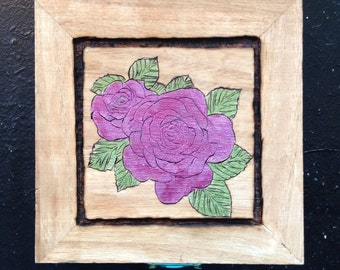 Painted Rose Wooden Box