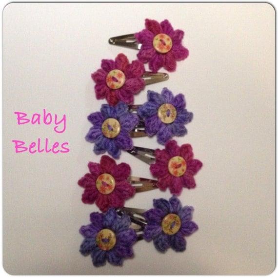 Crochet Hair Flowers : Baby Bella flower Crochet hair clip by LoveMeKnotsKnits on Etsy