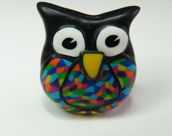 Hand-crafted Polymer Clay Owl Bead.