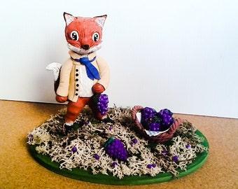 Fox and the grapes - statua in 3d su base in legno ispirata alla fiaba di esopo