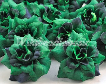 50  Silk Flower Heads,50 mm, Two Tone Green, Fake Flowers Wholesale,Bridal Hair Clips,Floral Supplies HS0001-24