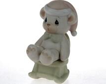 ON SALE - Vintage Bear Figurine - PReCIOUS MOMENTS - Bear on Rocking Chair - Samuel J. Butcher - Miniature Figurine -Enesco -
