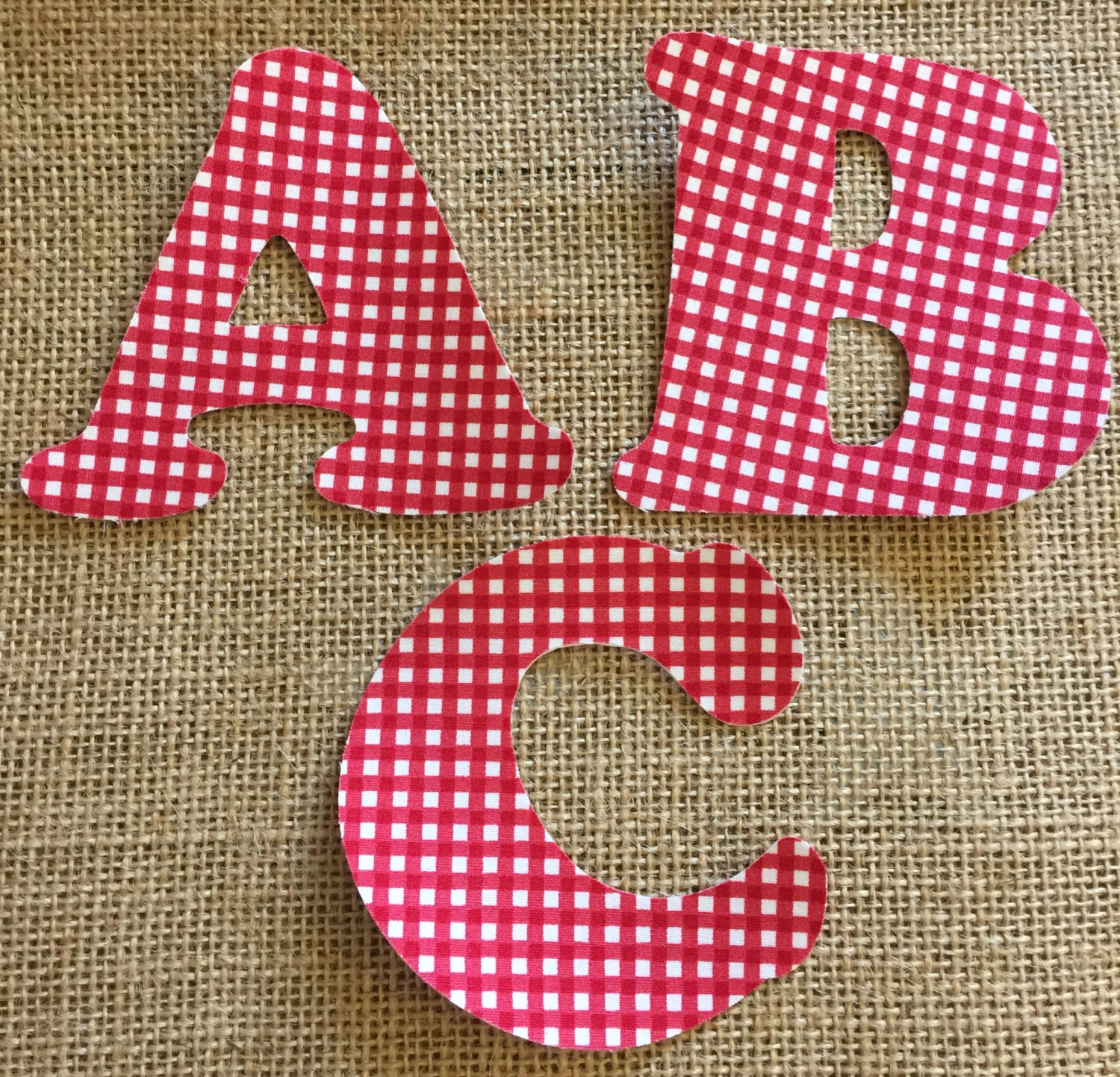 red gingham fabric iron on letters applique With iron on fabric letters