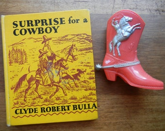 Vintage Cowboy Boot Bank and Surprise for a Cowboy Book from 1950