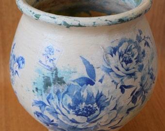Shabby chic vase, shabby chic decor, decoupage, floral