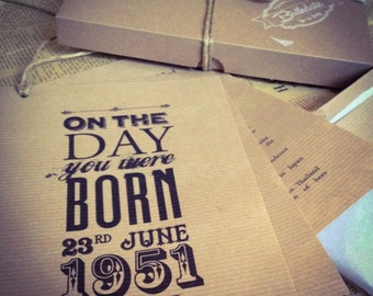 Personalised Rustic Vintage Style 'On The Day You Were Born' Postcard A5 Set, 1948, 1958, 1968, 1978, 1988, 1998 BIRTHDAY GIFT