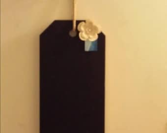 Large Hanging Tag Chalkboard with Burlap flower clothes pin