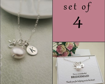 Personalized Bow Necklace Set Of 4, Bridesmaid Jewelry, Sterling Silver Bow Necklace, Message Card, Wedding Jewelry, Tie the Knot, Pearl