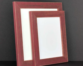 Burnt Red Picture Frame - Rustic Reclaimed Distressed Barn Wood Style - All Wood - Choose your size - Custom Sizes Available