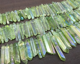 Polished Green Quartz Spike Beads Points Graduated Mystic Crystal Point Top Drilled Raw Quartz Crystal Gemstone Beads Supplies 5-8mmx18-40mm