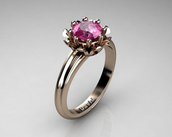 Classic 14K Rose Gold 1.0 Carat Pink Sapphire Solitaire Engagement Ring R1012-14KRGPS