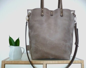 Leather tote bag, leather shopping bag, leather bag, leather shoulder bag, tote bag, leather bag, grey leather bag, vintage, Claire - grey!