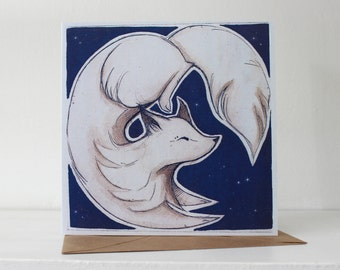 Arctic Fox Blank Greeting Card - Blue