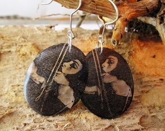 Resin Transparent Louise Brooks Earrings vintage Hollywood photo Movie Themes