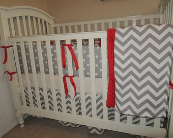 Red and Gray Chevron Baby Bedding Set