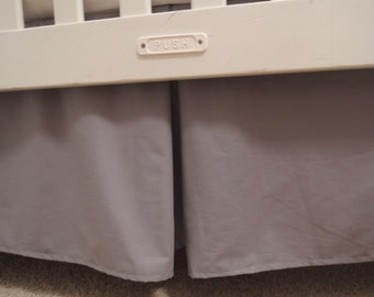 Solid Gray Crib Skirt with Pleat