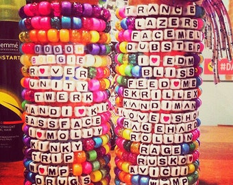 10 custom rave kandi bracelets. You can choose any phrase and colors!