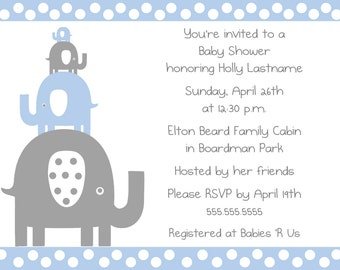 Stacked Elephant Shower Invitation
