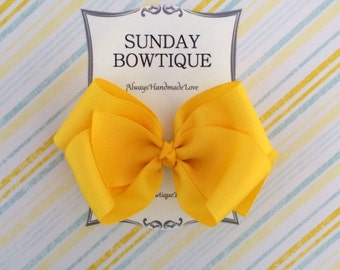 Yellow Hair Bow, Yellow Hairbow, Yellow Boutique Bow, Yellow Hair Clip, Yellow Bow, School Uniform Bow, School Hair Bow