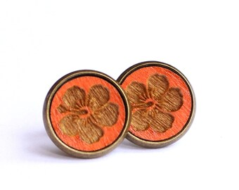 Tiny Stud Earrings, Hibiscus Earrings, Orange Earrings, Tangerine Earrings, Tiny Earring Posts